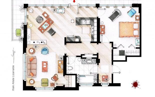 piantina del residence di dexter morgan disegno di Iñaki Aliste Lizarralde