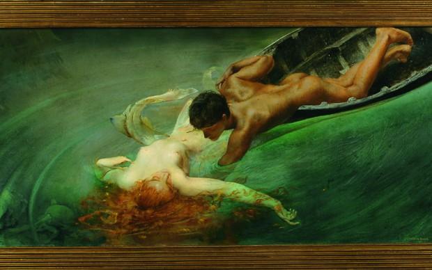 Giulio Aristide Sartorio, La sirena, 1893, olio su tela applicata su tavola, 71 x 142 cm, Torino, GAM - Gallerica Civica d'Arte Moderna e Contemporanea pittura simbolista mostra palazzo reale milano