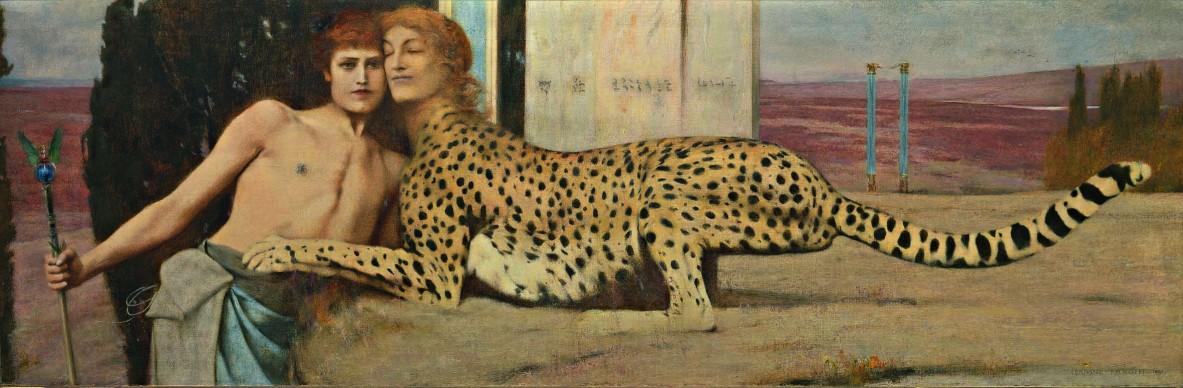 Fernand Khnopff, Carezze (L'Arte), 1896. Olio su tela, 50,5 x 151 cm, Bruxelles, Musées Royaux des Beaux‐Arts de Belgique inv. 6767 © Royal Museums of Fine Arts of Belgium, Brussels / foto J. Geleyns