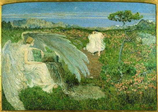 Giovanni Segantini,  L'Amore alla fonte della vita, 1896. Olio su tela, 72 x 100 cm,  Milano, Galleria d'Arte moderna © Galleria Civica d'Arte Moderna, Milano