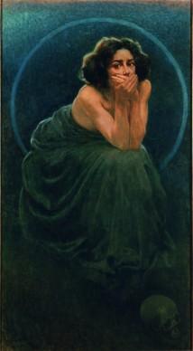 Giorgio Kienerk, L'enigma umano: il Silenzio, 1900, Olio su tela, 188 x 220 cm,  Pavia, Musei Civici © Pavia, Musei Civici