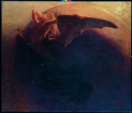 Gaetano Previati, Il giorno sveglia la notte, 1905, Olio su tela, 180 x 211 cm. Trieste, Museo Civico Revoltella © Archivi Alinari, Firenze