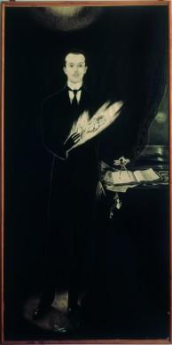 Alberto Martini,  Autoritratto, 1911.  Disegno su carta bianca intelata, inchiostro di china, penna e pastello, cm 240 x 130, Oderzo, Fondazione Oderzo Cultura, Pinacoteca Alberto Martini © Fondazione Oderzo Cultura / foto Pietro Casonato