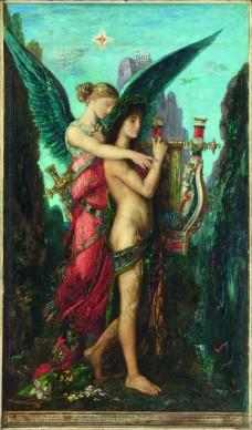 Gustave Moreau, Esiodo e la Musa, 1891. Olio su tavola, 59 x 34,5 cm, Parigi, Musée d'Orsay © RMN / Hervé Lewandowski / RMN ‐ Réunion des Musées Nationaux / distr. Alinari