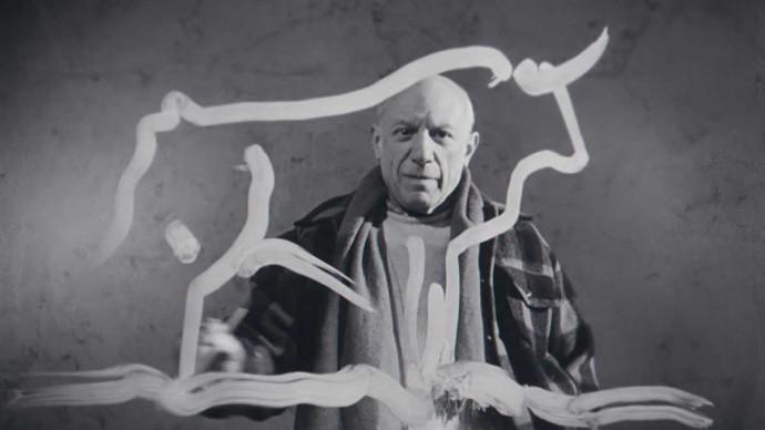 Pablo Picasso e il dipinto a vetro di un toro