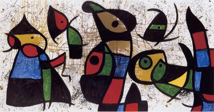 Joan Miró, Figures, Birds, 28 March 1976 (Personnages, oiseaux, 28 mars 1976), Collection Nahmad, Schwitzerland © Successió Miró / VG Bild-Kunst, Bonn 2016