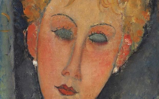 Particolare di un dipinto di Amedeo Modigliani