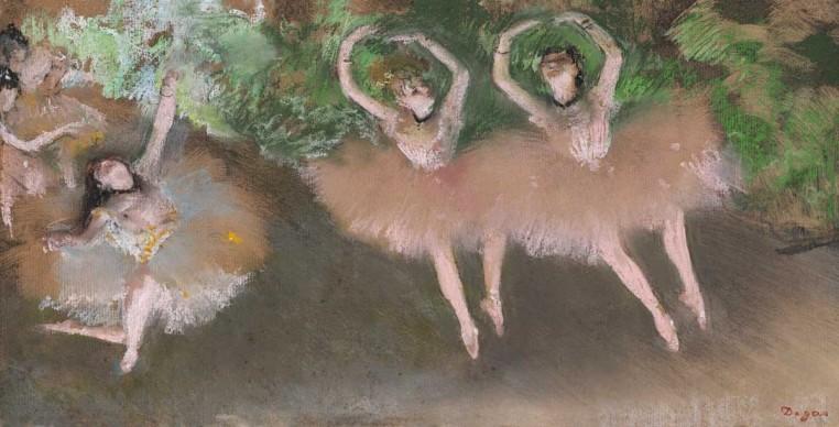 Edgar Degas, Ballet Scene (Scène de ballet), c. 1879. Pastel over monotype on paper. Plate: 8 x 16 in. (20.3 x 40.6 cm). William I. Koch Collection