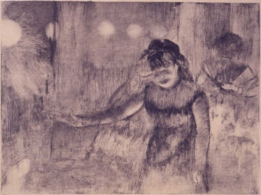 Edgar Degas, Café Singer, c.1877‑78. Monotype on paper. Plate: 4 3/4 × 6 3/8 in. (12 × 16.2 cm). Private collection