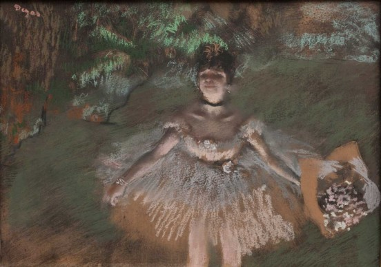 Edgar Degas, Dancer Onstage with a Bouquet, c.1876. Pastel over monotype on laid paper. Plate: 10 5/8 × 14 7/8 in. (27 × 37.8 cm). Private collection