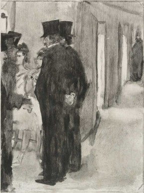 Edgar Degas , Pauline and Virginie Conversing with Admirers (Pauline et Virginie Cardinal bavardant avec des admirateurs), c. 1876–77. Proposed illustration for The Cardinal Family (La Famille Cardinal). Monotype on paper. Plate: 8 7/16 x 6 5/16 in. (21.5 x 16.1 cm); sheet: 11 3/10 x 7 1/2 in. (28.7 x 19.1 cm). Harvard Art Museums/Fogg Museum, Cambridge, Massachusetts. Bequest of Meta and Paul J. Sachs