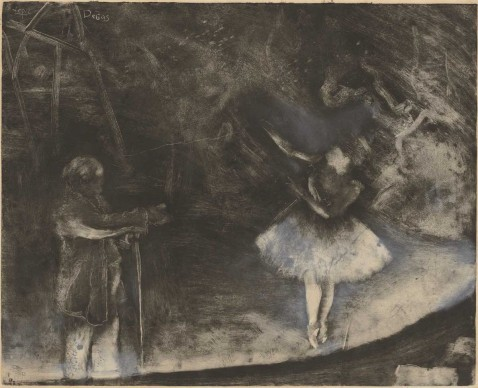 Edgar Degas, The Ballet Master (Le Maître de ballet), c. 1876. White chalk or opaque watercolor over monotype on paper. Plate: 22 1/4 x 27 9/16 in. (56.5 x 70 cm), sheet: 24 7/16 x 33 7/16 in. (62 x 85 cm). National Gallery of Art, Washington, D.C. Rosenwald Collection, 1964