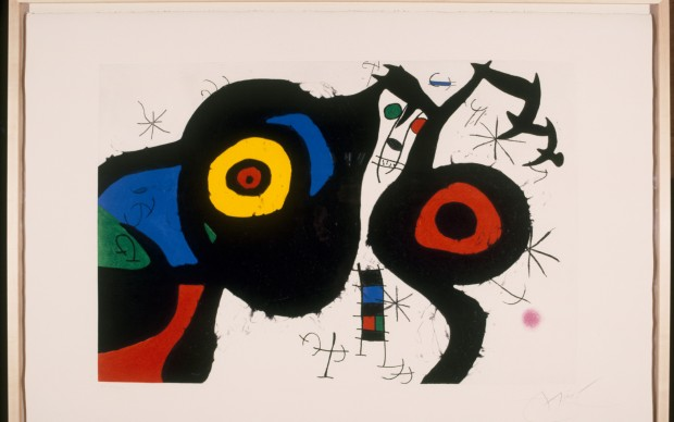 Joan Miró I due amici, 1969 Acquaforte, acquatinta e carburo di silicio, cm 71,5 x 106,5 Barcellona, Fundació Joan Miró © Successió Miró by SIAE 2016