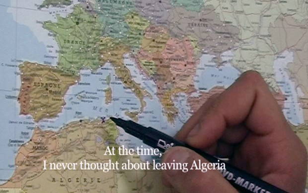 Bouchra Khalili. The Mapping Journey Project. 2008-11. Eight-channel video (color, sound). The Museum of Modern Art, New York. Fund for the Twenty-First Century. © 2016 Bouchra Khalili