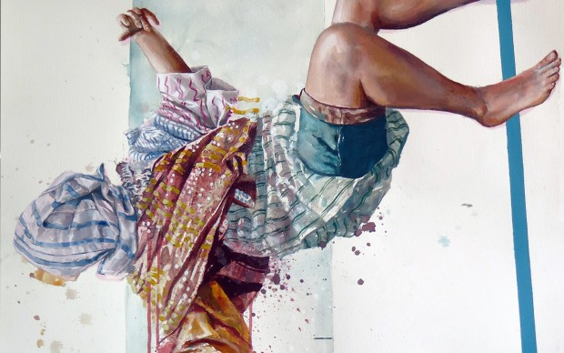 Fintan Magee. The Overdose _ Acrylic and oil on paper _ 65x90 cm, 2016