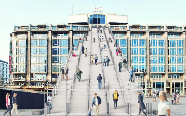 MVRDV Central Station Rotterdam Scalinata