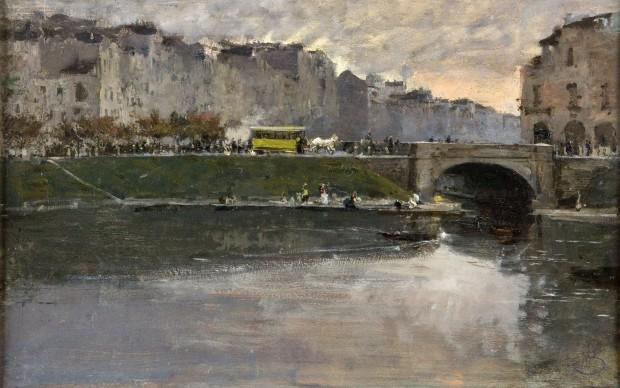 Mosè Bianchi, La darsena di Porta Ticinese, 1891-1893. Olio su tavola 48x75 cm