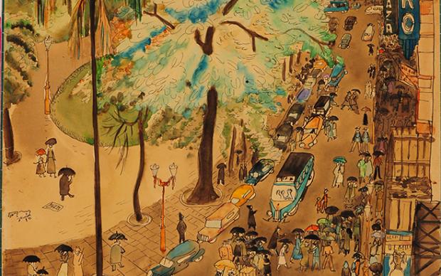 Lina Bo Bardi, Largo Getulio Vargas, Rio de Janeiro, 20 ottobre 1946, 1946, acquerello e grafite su carta. São Paulo, Instituto Lina Bo e P.M. Bardi