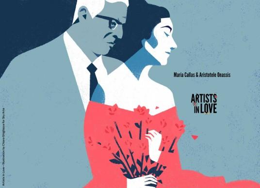 Artists in Love, Maria Callas e Aristotele Onassis, iIllustrazione di Chiara Ghigliazza per Sky Arte