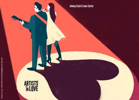 Artists in Love, Johnny Cash e June Carter, iIllustrazione di Chiara Ghigliazza per Sky Arte