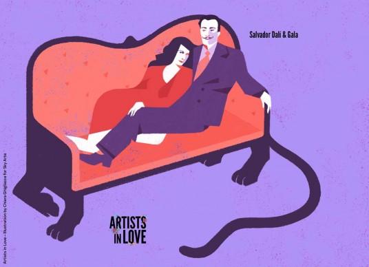 Artists in Love, Gala e Salvador Dalì, iIllustrazione di Chiara Ghigliazza per Sky Arte