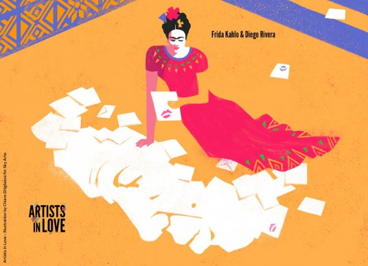 Artists in Love, Frida Kahlo e Diego Rivera,  iIllustrazione di Chiara Ghigliazza per Sky Arte