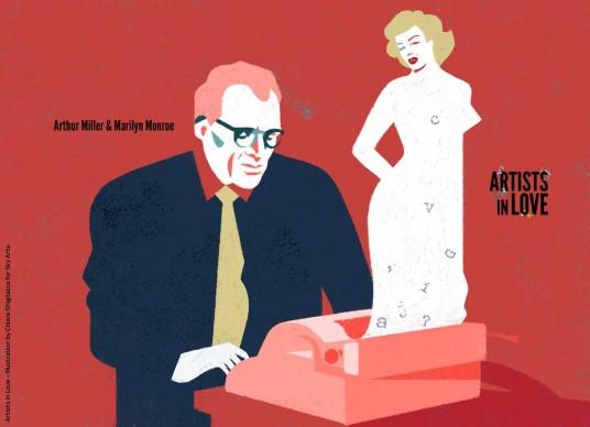 Artists in Love, Arthur Miller e Marilyn Monroe, iIllustrazione di Chiara Ghigliazza per Sky Arte
