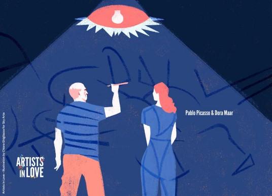 Artists in Love, Pablo Picasso e Dora Maar,  iIllustrazione di Chiara Ghigliazza per Sky Arte
