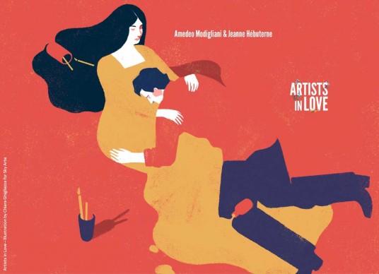 Artists in Love, Amedeo Modigliani e Jeanne Hébuterne,  iIllustrazione di Chiara Ghigliazza per Sky Arte