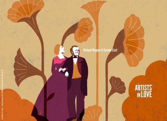 Artists in Love, Richard Wagner e Cosima Liszt,  iIllustrazione di Chiara Ghigliazza per Sky Arte