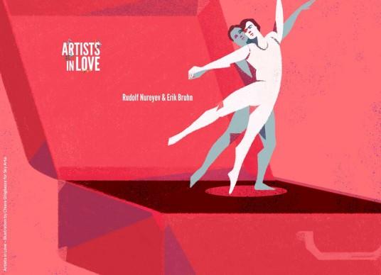 Artists in Love, Rudolf Nureyev ed Eric Bruhn, iIllustrazione di Chiara Ghigliazza per Sky Arte