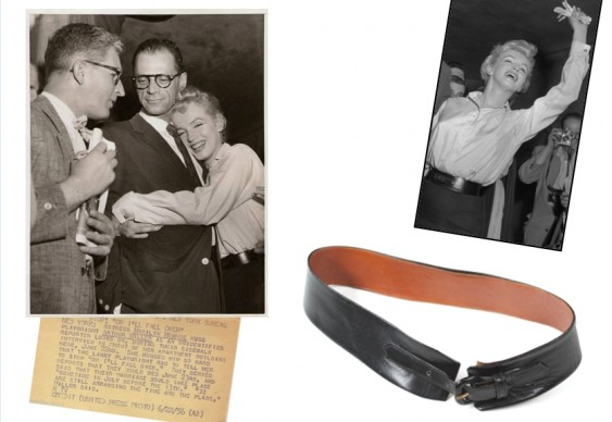 Leather belt of Marilyn Monroe including original press photo from archive. Collection Stampfer. Image collage: Copyrights Ted Stampfer