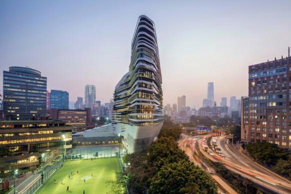 Zaha Hadid Architects,  Jockey Club Innovation Tower, at Hong Kong Polytechnic University. Photo credit: Doublespace