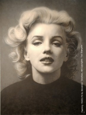 Original painting Marilyn by Alexander Timofeev. Unique. Collection Stampfer. Photo+Copyrights Ted Stampfer