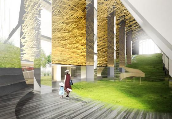 Kengo Kuma, render del progetto  Alberni by Kuma. Photo credit: KKAA