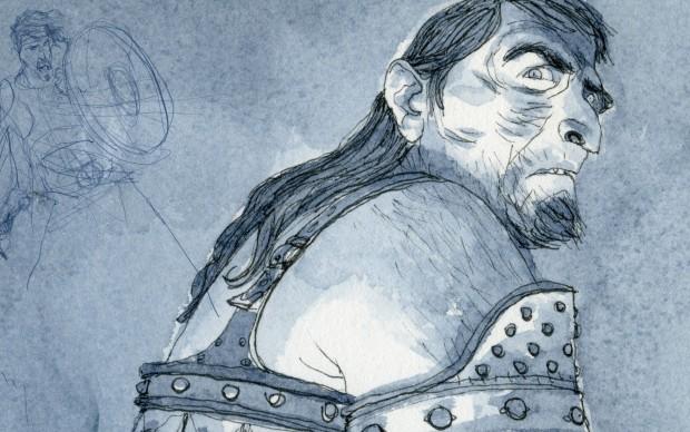 Gipi, BRUTI - Disegno per un guerriero di una carta da gioco