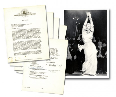 Original photo with signed contract between Marilyn Monroe, MGM and Twentieth Century Fox Corp. Regarding the rights of recording tot he movie Gentlemen Prefer Blondes, Collection Stampfer. Image collage: Copyrights Ted Stampfer