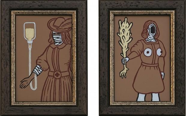 ANTONIO SORRENTINO, Corte dei Miracoli 06, acrilico su cartone telato, LGT
