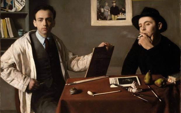 Antonio e Xavier Bueno, Doppio autoritratto, 1944, olio su tela, cm 74×100 Ivrea, Museo Civico Pier Alessandro Garda