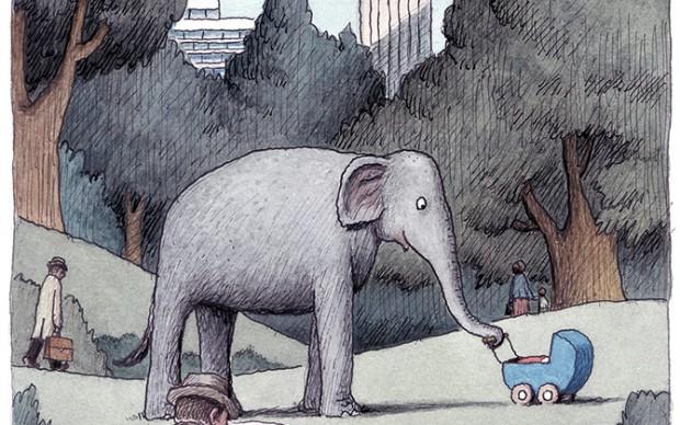 """Franco Matticchio, Elefantata, Da """"Libretto postale 2"""", 2014. Acquarello e china, cm 20,5x14,5"""