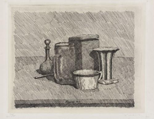 Giorgio Morandi, Natura morta, 1929, Acquaforte su zinco, Morat-Institut für Kunst und Kunstwissenschaft, Freiburg im Breisgau © 2016, ProLitteris, Zürich