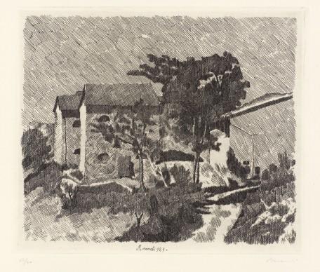 Giorgio Morandi, Paesaggio, 1929, Acquaforte su zinco, Morat-Institut für Kunst und Kunstwissenschaft, Freiburg im Breisgau © 2016, ProLitteris, Zürich
