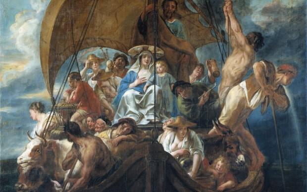 Jacob Jordaens La Sacra Famiglia in fuga su una barca olio su tela, 1652, cm 220 x 254 Skokloster Slot, Håbo, Svezia
