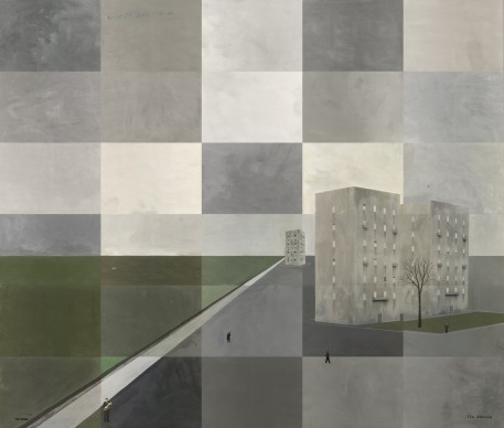 Paolo Ventura, Via Emilia #1, 2016, Fotografia dipinta e collages, opera unica, 130 x 150 cm © Paolo Ventura