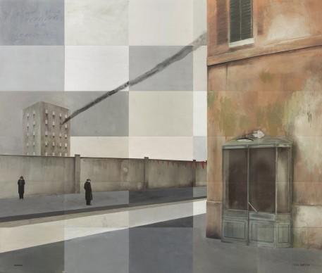 Paolo Ventura, Via Emilia #3, 2016, Fotografia dipinta e collages, opera unica, 130 x 150 cm © Paolo Ventura