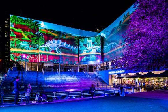 Vivid Sydney 2016, Chatswood, Gondwana Light Lab. Photo Credit - Destination NSW
