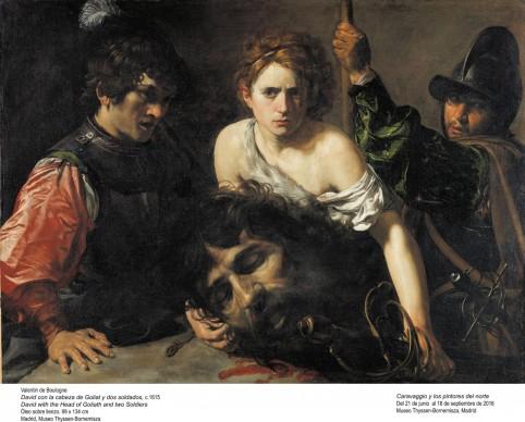 Valentin de Boulogne, David con la testa di Golia e due soldati, 1615