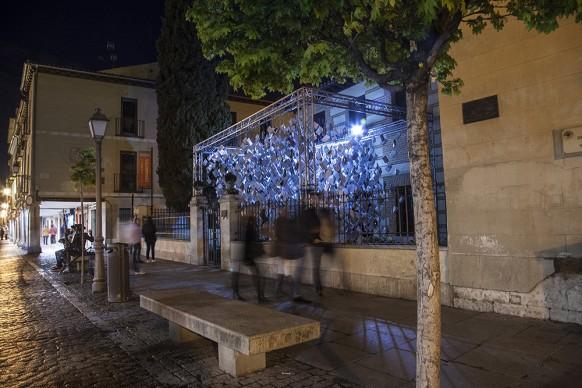 Luzinterruptus, Cervantes in the Spotlight, Museo Casa Natal de Cervantes - Alcalá de Henares. Photo by Lola Martinez