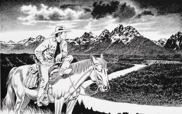 Fabio Civitelli Tex--Grand-Teton-National-Park Acrilico su tela cm 40x60 2015 Courtesy Ca' di Fra' - Milano / Sergio Bonelli Editore