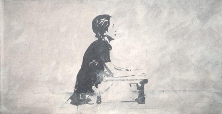 Giosetta Fioroni, Autoritratto a nove anni, 1966, matita, smalti bianco e alluminio su tela, 80 x 180 cm